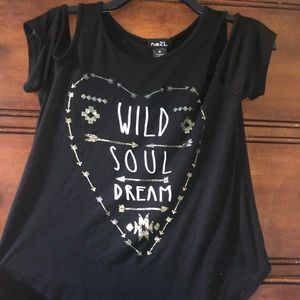 Rue21 Tops - Black shirt with hole in shoulders